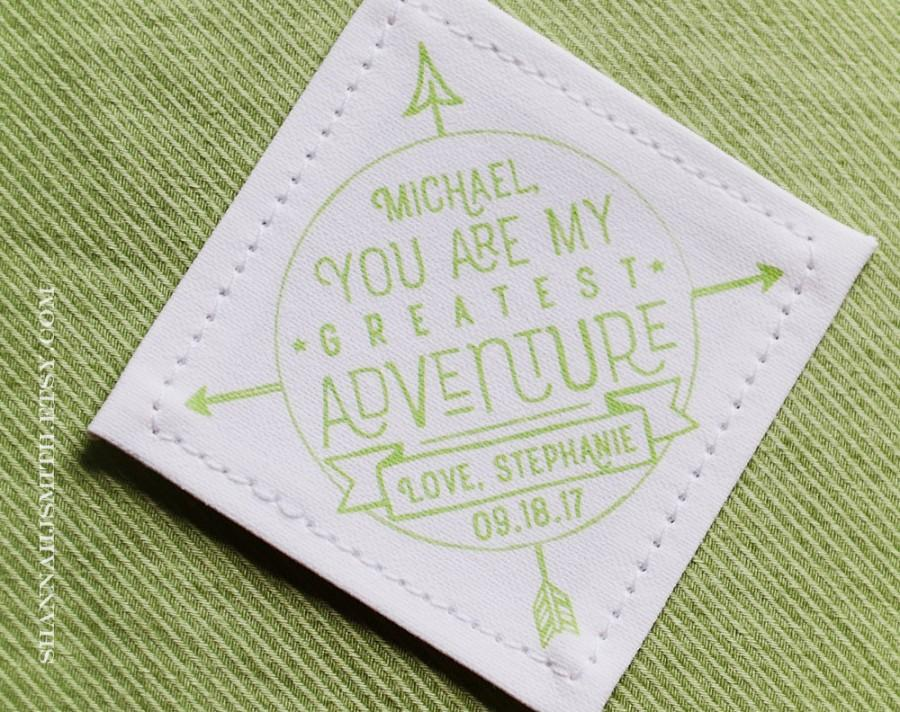 Mariage - Groom Personalized Tie Patch • You Are My Greatest Adventure • 2nd Anniversary Cotton • Suit Label • Personalized Christmas Label • Compass