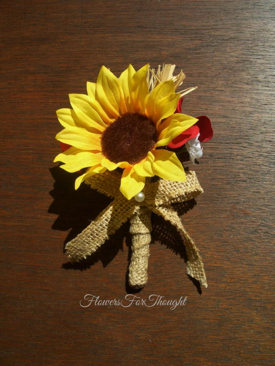 Sunflower boutonniere with red and white flowers rustic mens lapel sunflower boutonniere with red and white flowers rustic mens lapel pin sunflower burlap buttonhole bloom mightylinksfo
