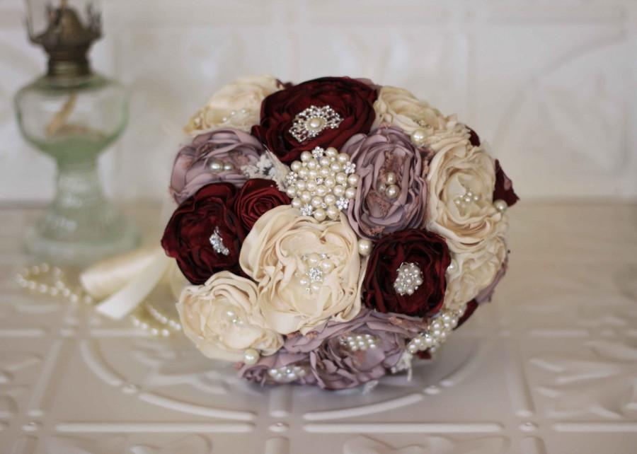 Fabric Flower Bouquet Lace Bridal Bouquet Cream Dusty
