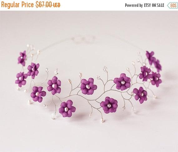 Hochzeit - 51_Violet crown, Flower crown, Floral hair accessories, Flower tiara, Hair accessories, Bridal hair accessories, Wedding hair accessories