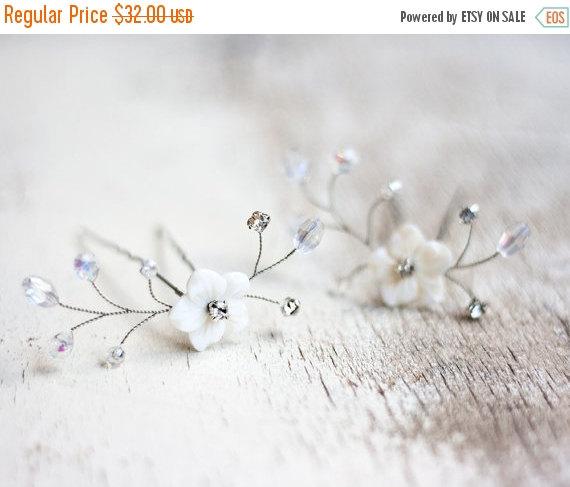 Hochzeit - 81_Crystal hair pins, Bridal Hair Pins, Flower hair pins, Mother of Pearl Hair Pins, Bridal hair accessory, Rhinestone hair pin. Set of 2.