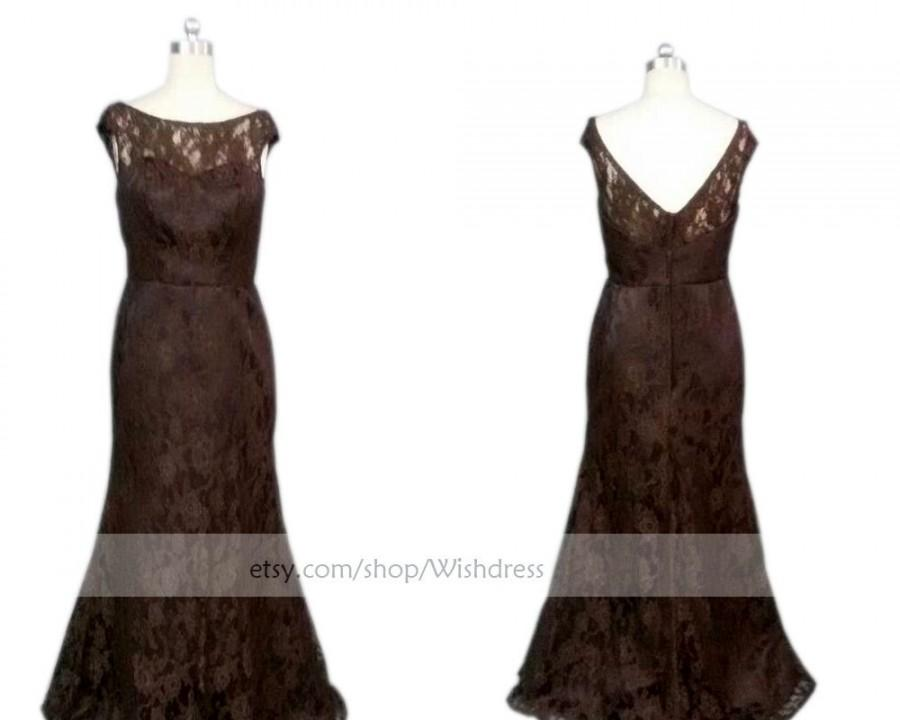 Mariage - Custom Made  Short Sleeves Mother of the Bride Dress / V cut Back Lace Mother of The Bride Dress /Brown Lace Dress