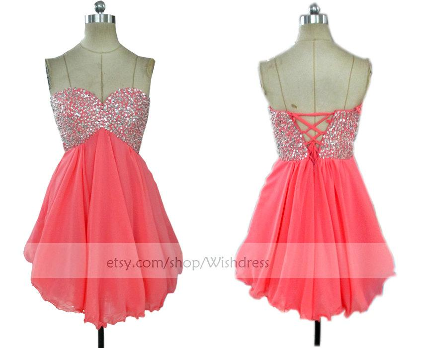 Mariage - Handmade Sequins Watermelon Homecoming Dress/ Cocktail Dress /Coral Prom Dress/ Short Homecoming Dress/ Short Prom Dress/ Formal Dress