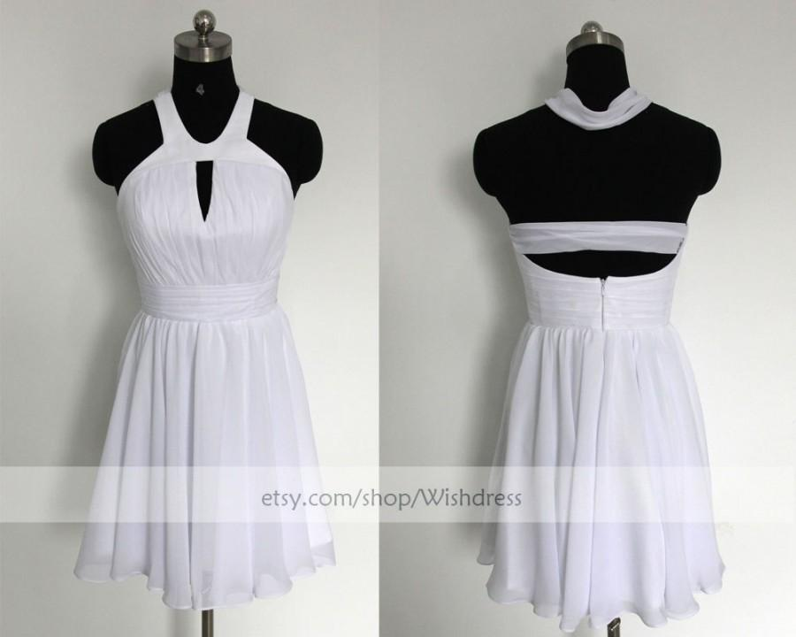 Mariage - Handmade Keyhole Front White Chiffon Short Prom Dress/Halter Bridesmaid Dress/ Homecoming Dress /Wedding Party Dress By Wishdress