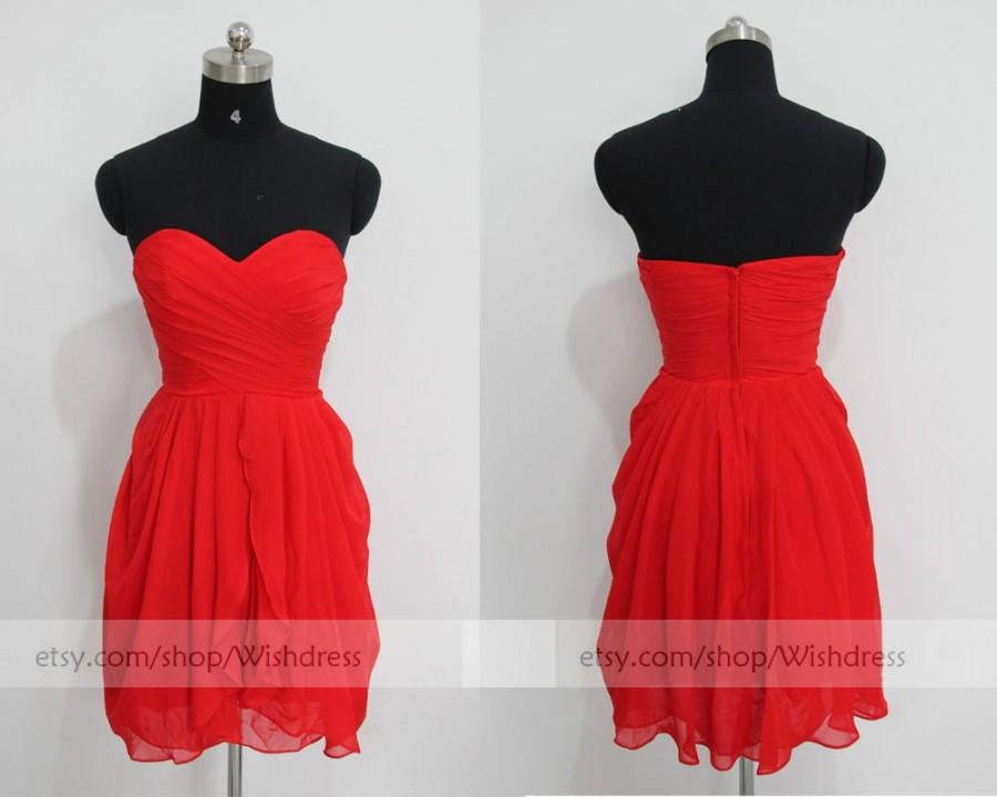 Mariage - Red Knee Length Short Bridesmaid Dress/Bridesmaid Dress/Mismatch Bridesmaid Dress/Short Prom Dress/ Homecoming Dress/ Formal Dress For Party