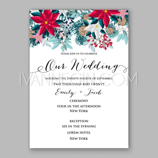 Invitation Party Wedding Free Vector Graphic On Pixabay: Poinsettia Wedding Invitation Card Beautiful Winter Floral