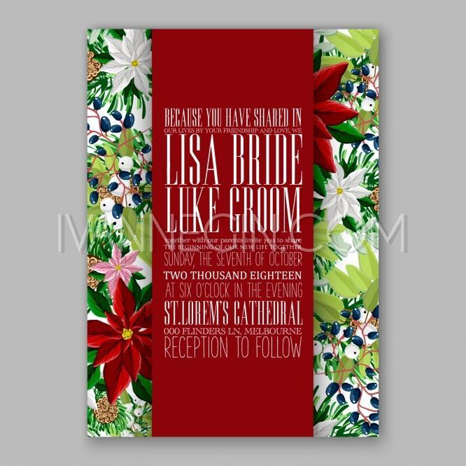 poinsettia wedding invitation card beautiful winter floral ornament christmas party invite unique vector illustrations christmas cards - Unique Party Invitations