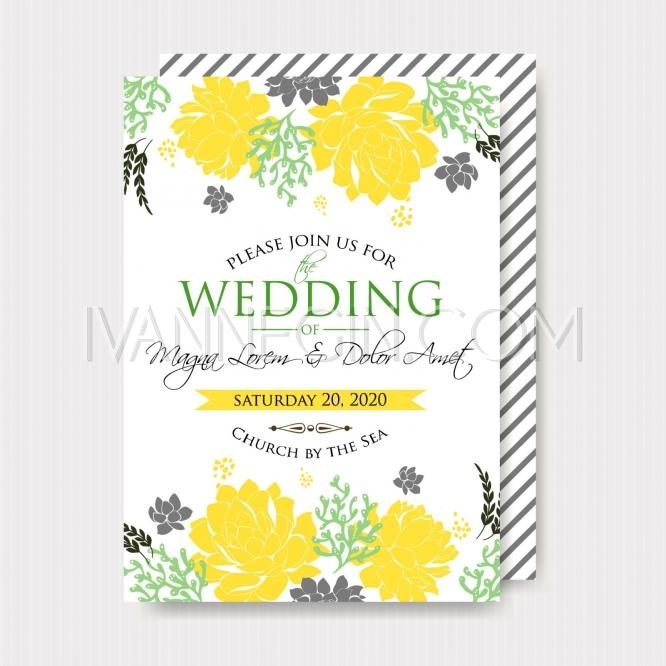 Mariage - Wedding invitation with bright yellow flowers - Unique vector illustrations, christmas cards, wedding invitations, images and photos by Ivan Negin