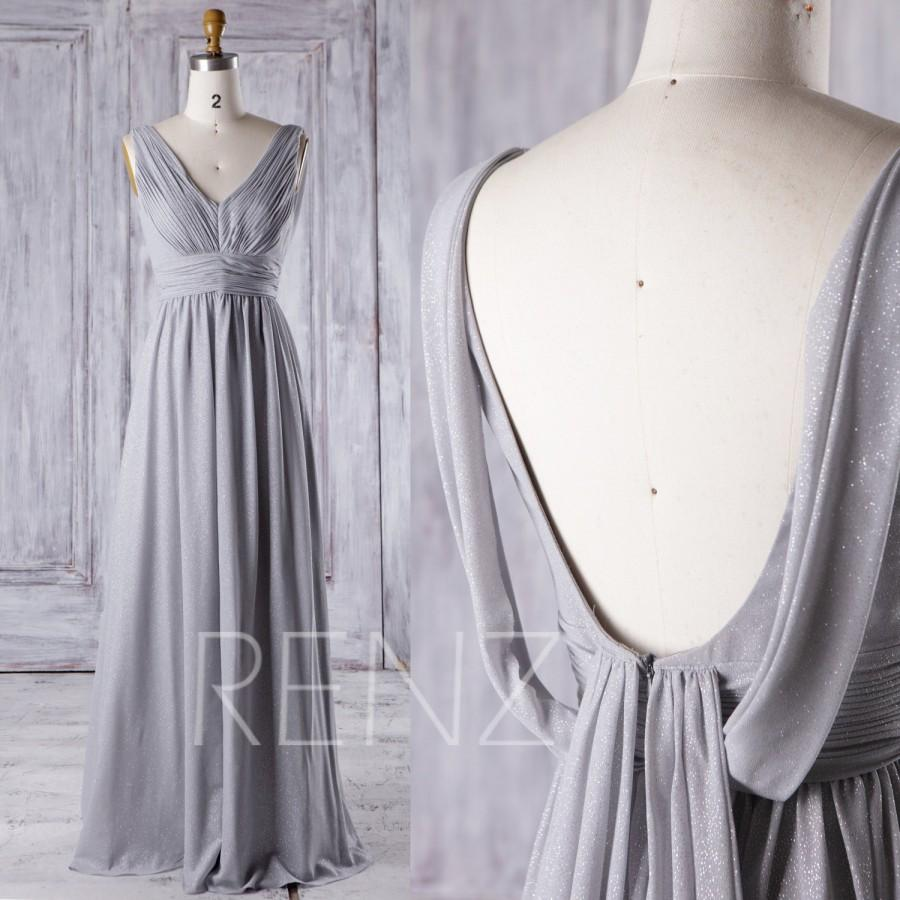 Wedding - 2016 V Neck Bridesmaid Dress with Sequin, Light Gray Ruched Bodice Wedding Dress, A Line Prom Dress, Backless Evening Gown Floor (J082)