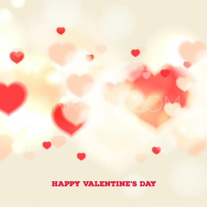 Happy Valentines Day Card With Blurred Hearts On Beige Background