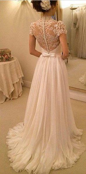 Mariage - 2016 A-line Wedding Dresses Chiffon Short Sleeves Sheer Lace Back Elegant Bridal Gowns - BrideBug