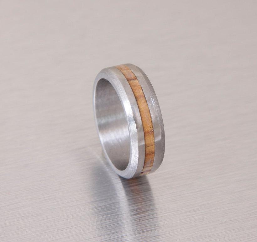 Mariage - olive wood ring titanium band mens wedding wood ring Titanium and Olive Rings // Mens Wood Rings //wood Wedding Band //Men's wedding Band