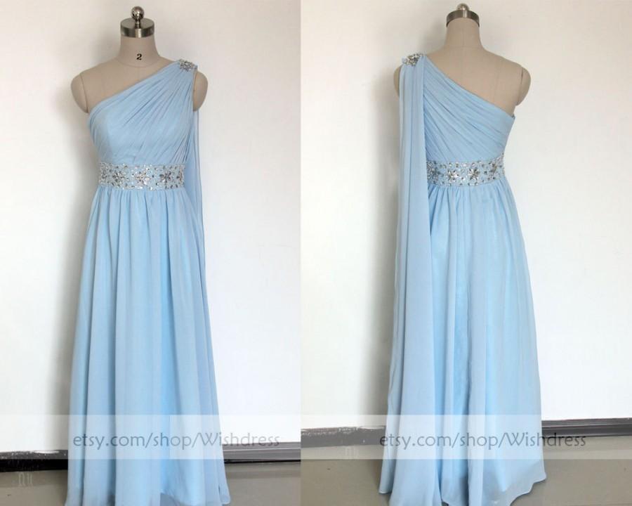 Свадьба - Custom Made Sky Blue Prom Dress/ Long Homecoming Dress/ One-shoulder Prom Dress With Sash/ Formal Dress/ Evening Dress by wishdress