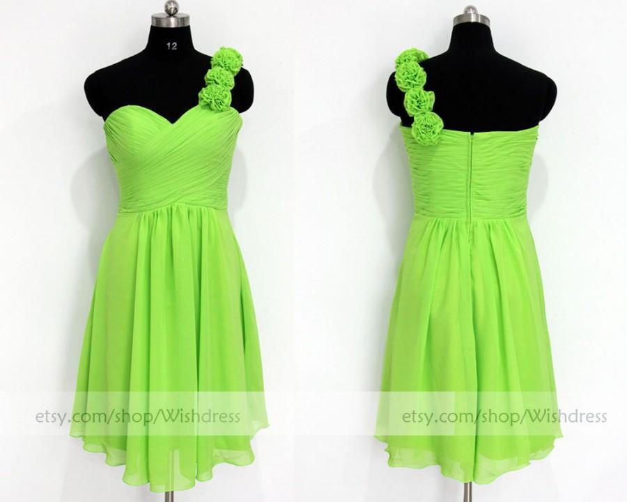 Wedding - Custom Made Chiffon Bridesmaid Dress /One-shoulder Bridesmaid Dress /Purple Bridesmaid Dress / Chiffon Wedding Party Dress/ Lime Prom Dress