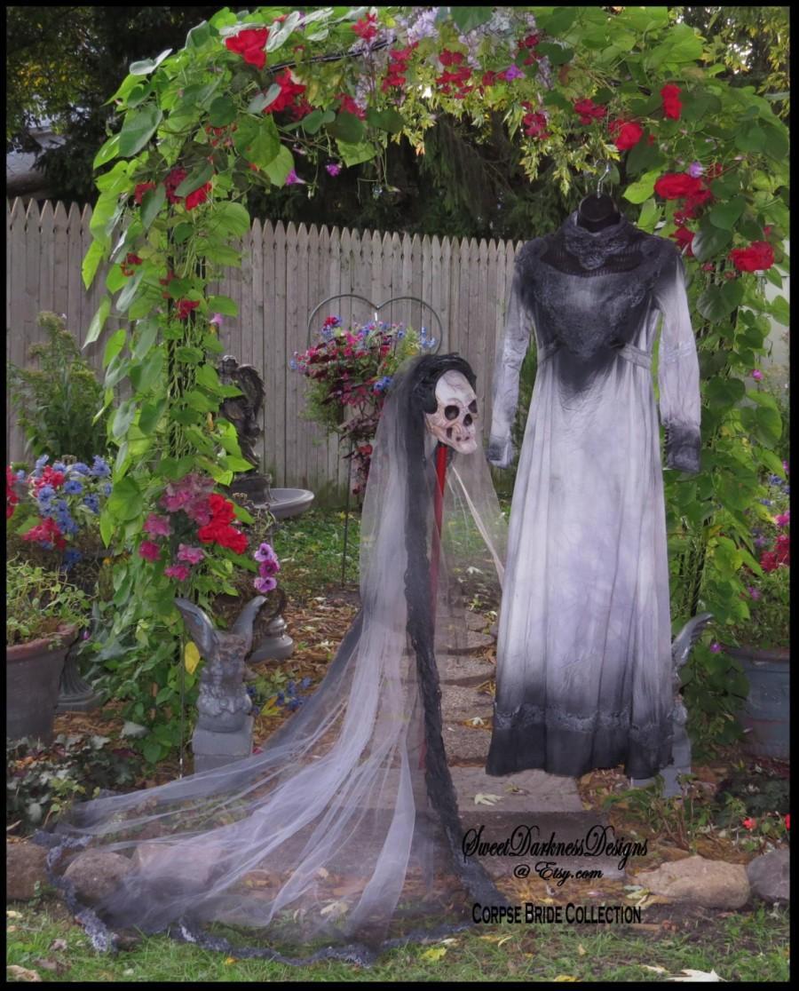 Corpse Bride Dress Tim Burton Wedding Vampire Ghost Size 10 Bridal Gown Hand Dyed By Zombiebrideusa