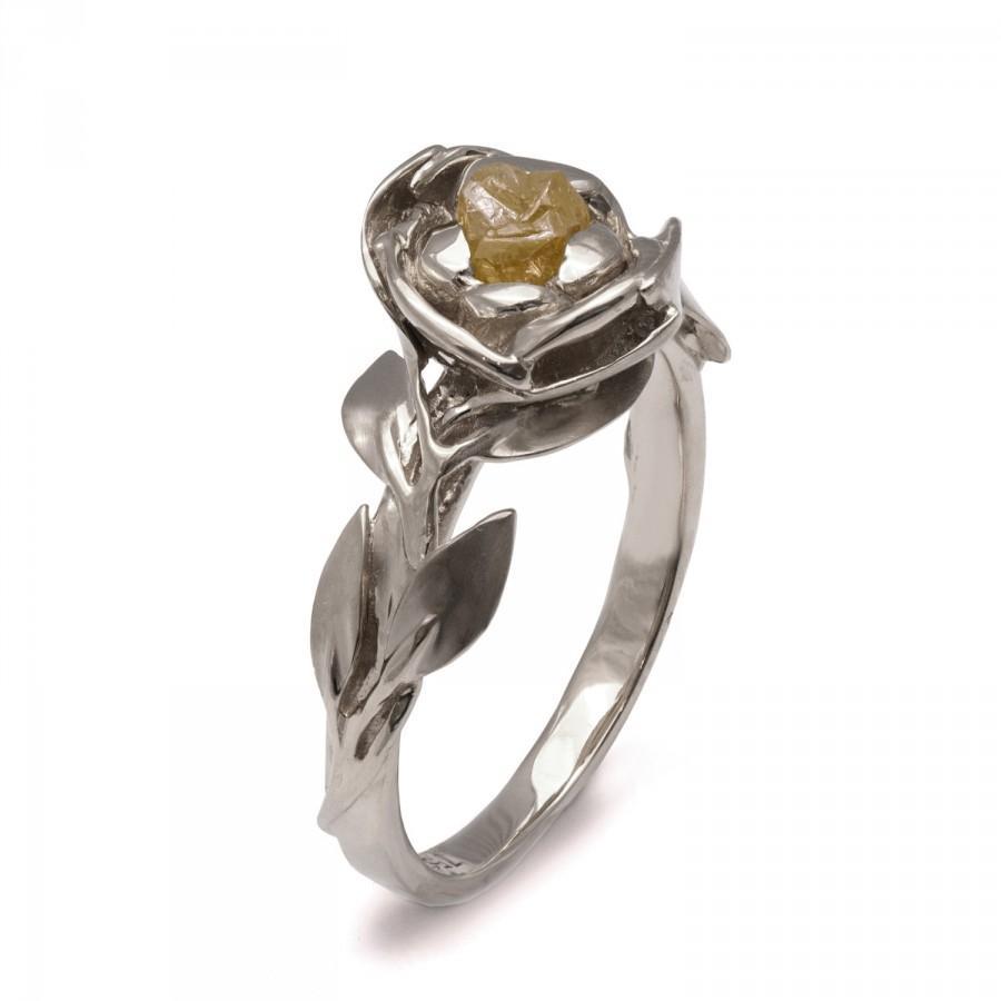 Hochzeit - Raw Diamond Rose Engagement Ring - 18K White Gold and Rough Diamond engagement ring, Unique Engagement ring,rough diamond ring,raw diamond,1