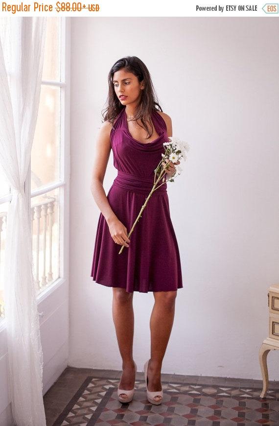 Свадьба - BLACK FRIDAY SALE 20% Short burgundy dress, 3/4 sleeve wrap dress, knee-length gown, short dress marsala, convertible party dress cocktail d