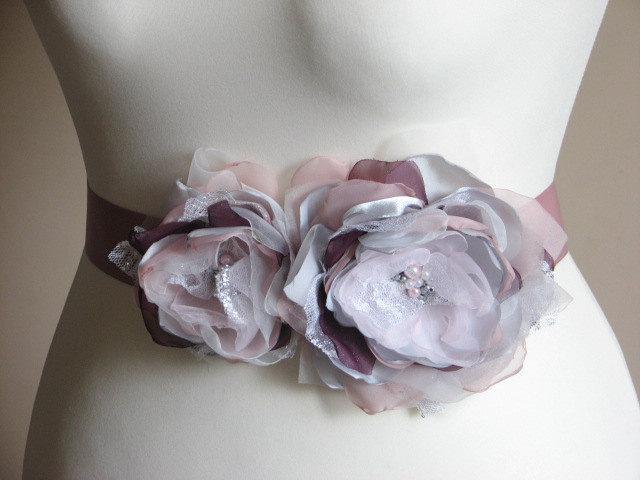 Свадьба - Mauve purple sash Bridal purple sash Purple dress Bridal dress Purple ivory sash Bridal mauve sash Silver grey sash Mauve dress Mauve sash