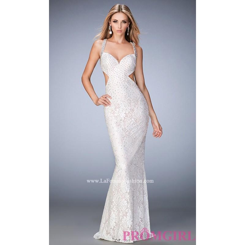 Beaded Lace Long La Femme Sweetheart Prom Dress - Discount Evening ...