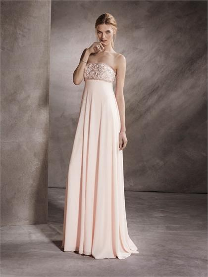 Mariage - Strapless Empire Waist Beaded Bodice Floor Length Chiffon Prom Dress PD3351