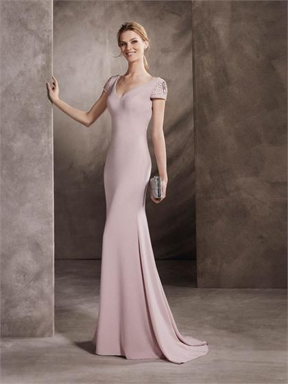 Mariage - Corset V-neck with Cap Sleeves Beaded Floor Length Prom Dress PD3350