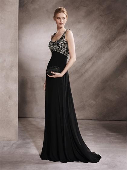 Hochzeit - A-line with U Neckline Beaded Bodice Black Chiffon Prom Dress PD3344
