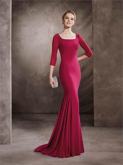 Boda - Mermaid Square Neckline with Long Sleeves Beaded Chiffon Prom Dress PD3342
