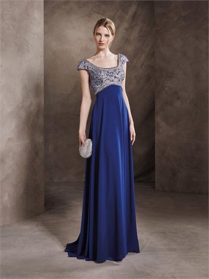 Mariage - A-line Square Neckline Empire waist Cap Sleeves Beaded Bodice Chiffon Prom Dress PD3345