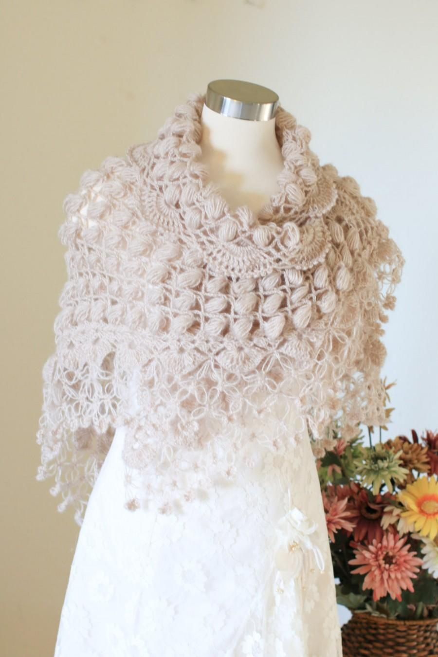 Mariage - Winter Wedding,Crochet Shawl, Beige Shawl, Shawl, Bridal Cape, Wedding Cape, Bridal Wrap, Bridal Bolero, Wedding Shawl, Bridal Shawl, Cape