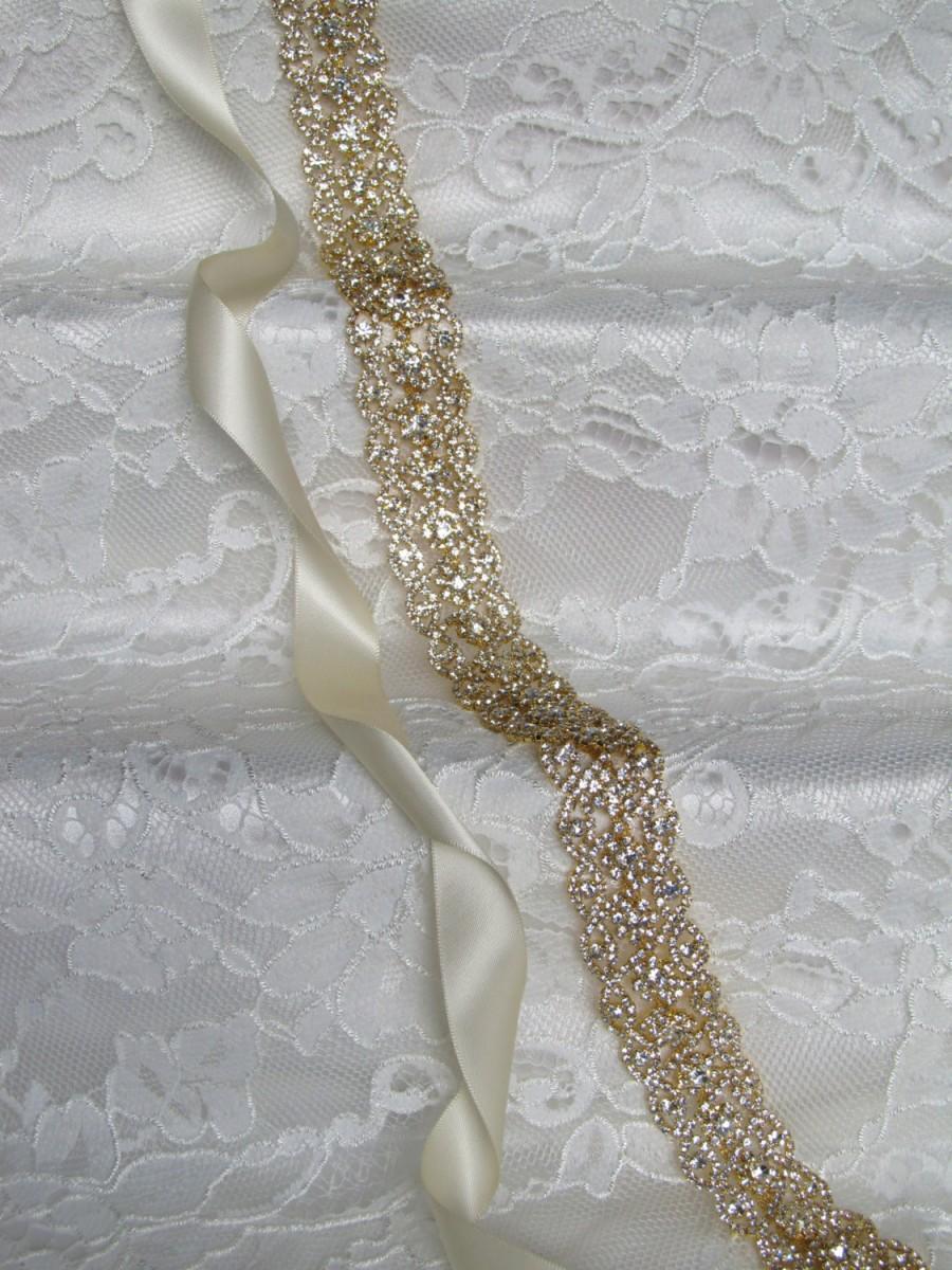 زفاف - Gold Crystal Rhinestone Bridal Sash,Wedding sash,Bridal Accessories,Bridal Belt and sashes,Ribbon Sash,Style #51