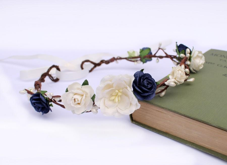 Wedding - Navy Flower Crown, Ivory Rose Pip Berry Floral Crown, Navy Floral Crown, Bridal Headdress, Bridesmaid Garland, Rustic wedding, Cream Mag
