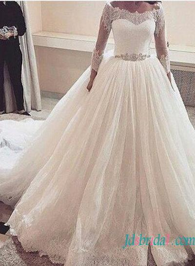 Wedding - Classic illusion lace bateau neck 3/4 length sleeved princess wedding dress