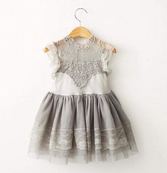 Hochzeit - Gray flower girl dress, gray lace flower girl dress