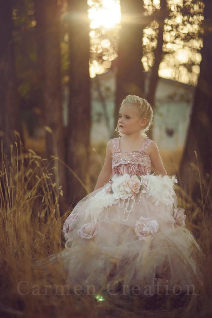 Свадьба - Mauve Flower Girl Dress