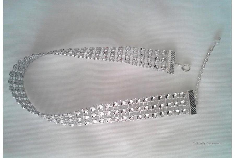 Свадьба - SALE until NEW YEAR'S - Rhinestone Choker, Rhinestone Style Choker, Faux Diamond Choker, Sparkle Choker, Sterling Silver