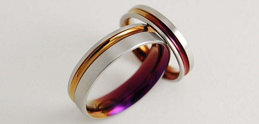 Свадьба - Wedding Bands , Titanium Rings , Titanium Wedding Ring Set , Promise Rings , The Cosmos Bands in Bronze and Purple Wine