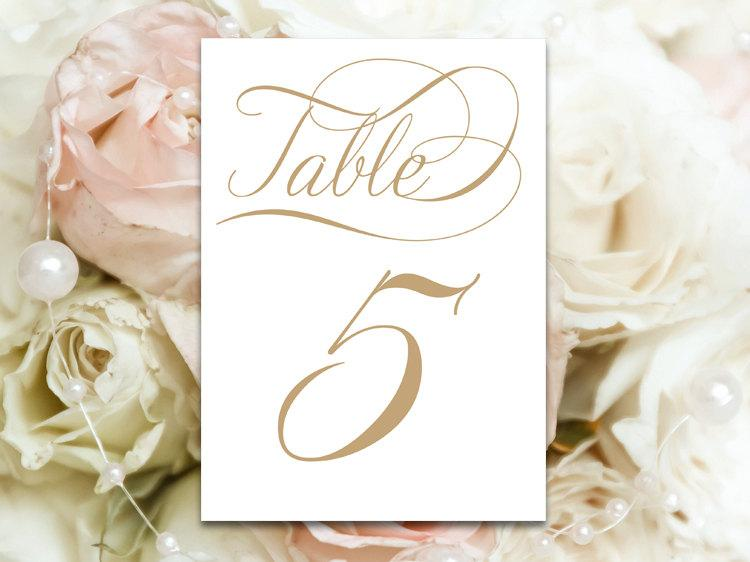 Wedding - Table Number Cards 1 Through 30 - Festoon Antique Gold - PDF format - 4 x 6 size - You Print - Instant Download