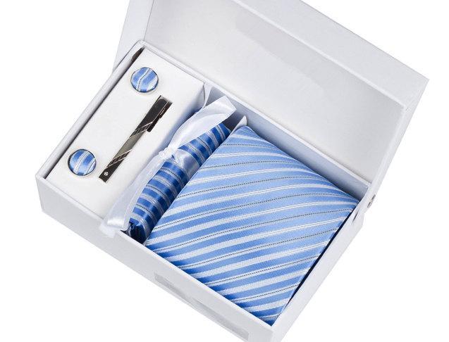 Mariage - Mens Ties.Wedding Tie Set.White And Blue Stripes Tie Set.Including cufflinks.tie.tie clip. pocket square.Business Necktie Set.Groomsmen Set
