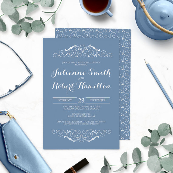 Mariage - Dusty Blue Rehearsal Dinner Invitations-Blue Winter Wedding Rehearsal Dinner-Vintage Swirl-Chic Retro-Victorian Swirl-Modern Elegant