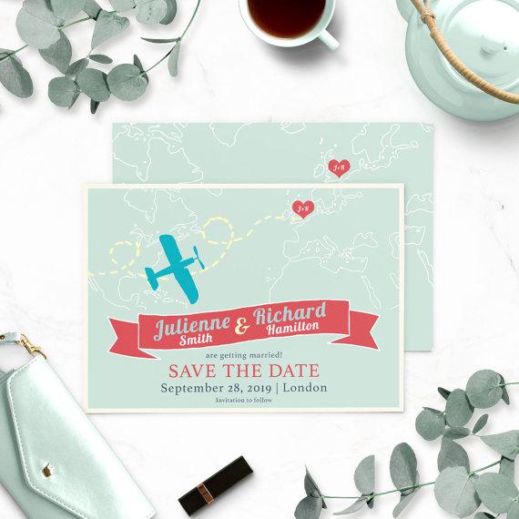 Mariage - Destination Wedding Save the Date-Retro Airplane Save the date-Map Save the Date-Heart with couple initials-Travel Wedding