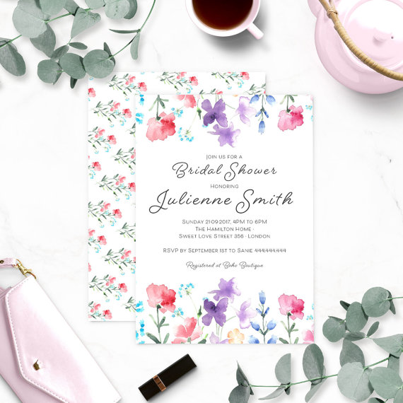 floral watercolor bridal shower invitation wildflowers bridal shower invitation rustic bridal shower customized bridal shower invite