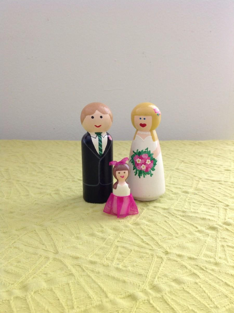 Mariage - Little Family Couple and Child Cake Topper Handpainted Customizable Unique Detailed