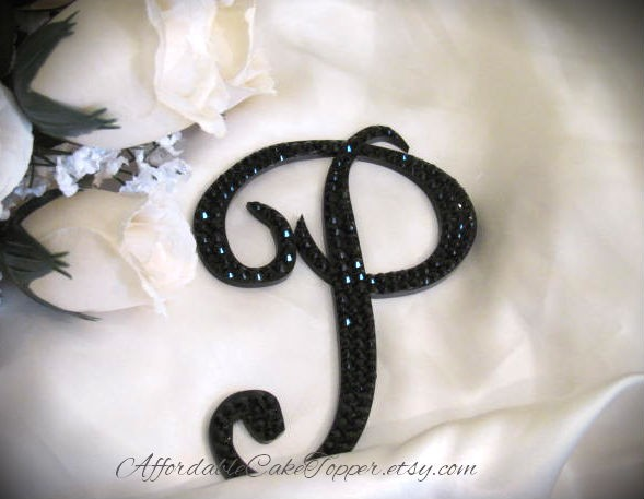 Mariage - Black Cake Topper - Black Crystal Topper - Custom Wedding Cake Topper - Personalized Black Monogram Letter Cake Topper - Bride and Groom
