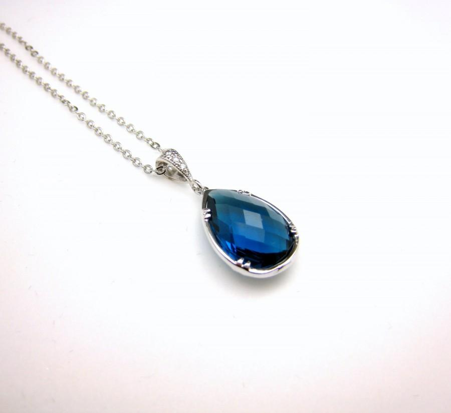 Wedding - Bridesmaid necklace bridal necklace bridesmaid gift teardrop pear shape blue navy sapphire quartz crystal bezel frame pendant style necklace