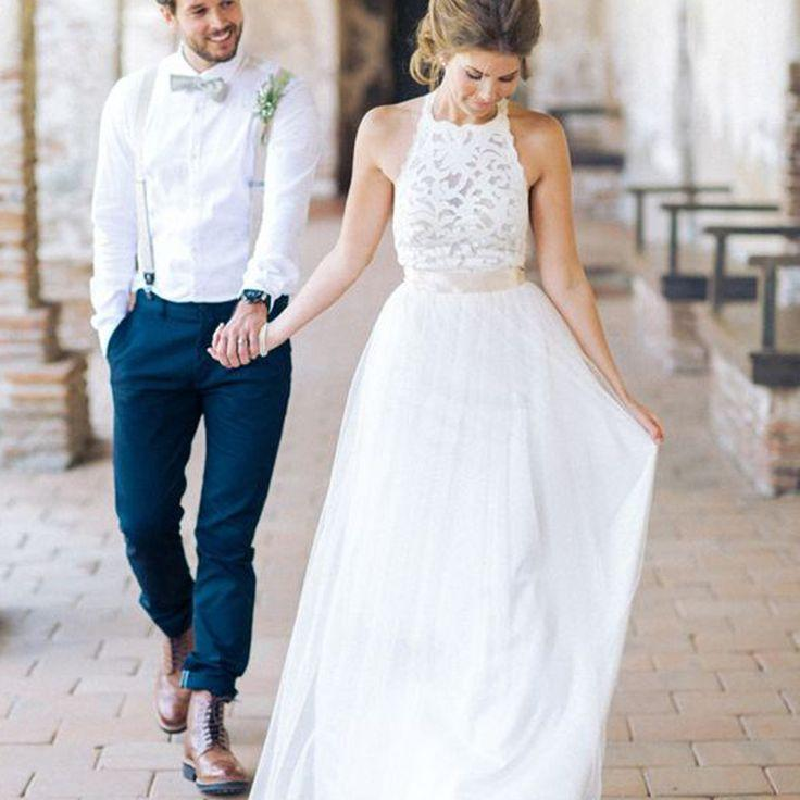 High Neck White Lace Long Sheath Simple Design Wedding Party Dresses Wd0089
