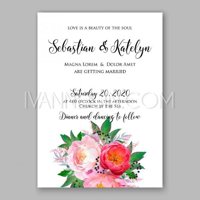 Wedding - Peony Wedding Invitation watercolor floral vector - Unique vector illustrations, christmas cards, wedding invitations, images and photos by Ivan Negin