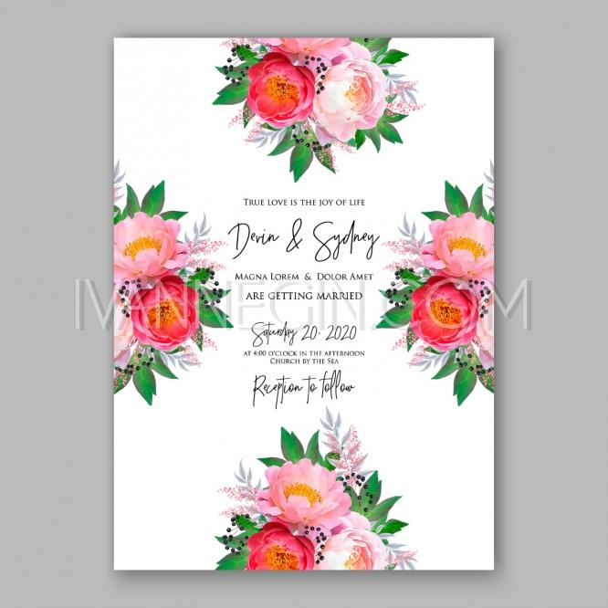زفاف - Peony Wedding Invitation watercolor floral vector - Unique vector illustrations, christmas cards, wedding invitations, images and photos by Ivan Negin