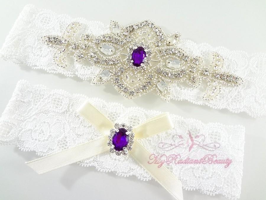 Свадьба - Bridal Garter, Wedding Sexy Garter, Crystal Applique Garter, Purple Rhinestone Garter, Handmade Custom Garter, Beaded Garter GTA0031