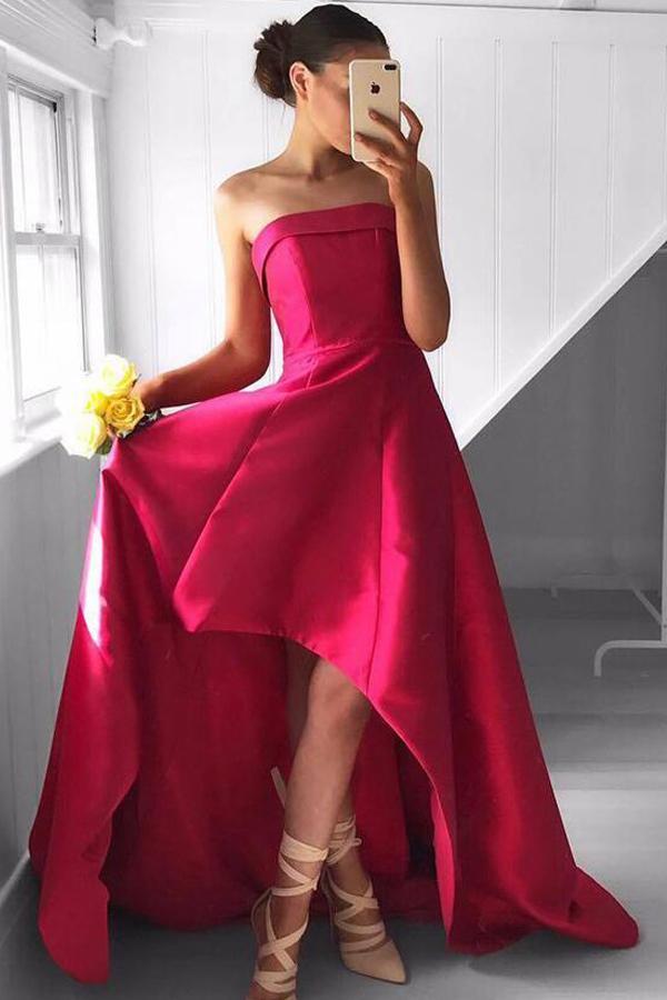 Свадьба - Fabulous Strapless High Low Fuchsia Pleated Prom Dress