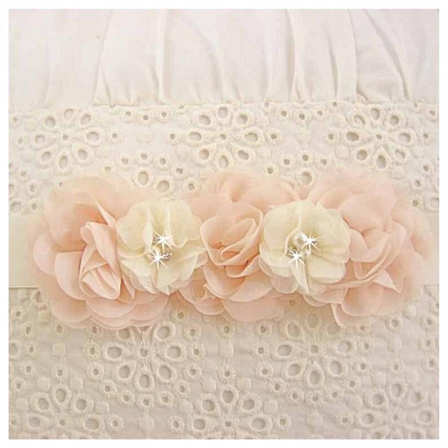 Wedding - Blush Bridal Sash Bridesmaid Sash Blush and Ivory Chiffon Blossoms Satin Sash Flower Girl Bridesmaids Wedding Sash Bridal Sash